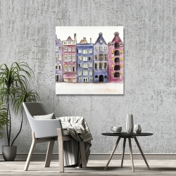Canvas 36 x 36 - Old historic houses amsterdam