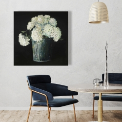 Canvas 36 x 36 - White hydrangea flowers