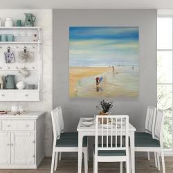Canvas 36 x 36 - Children at the beach