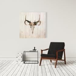 Canvas 36 x 36 - Mule deer skull with roses