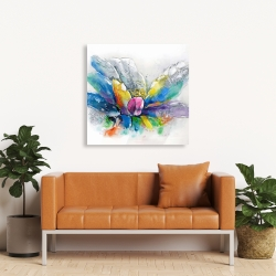 Canvas 36 x 36 - Abstract flower with newspaper
