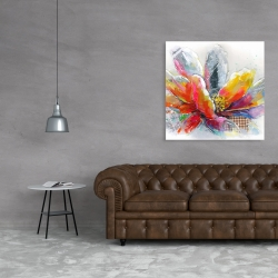 Canvas 36 x 36 - Abstract flower with texture