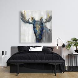 Canvas 36 x 36 - Blue moose