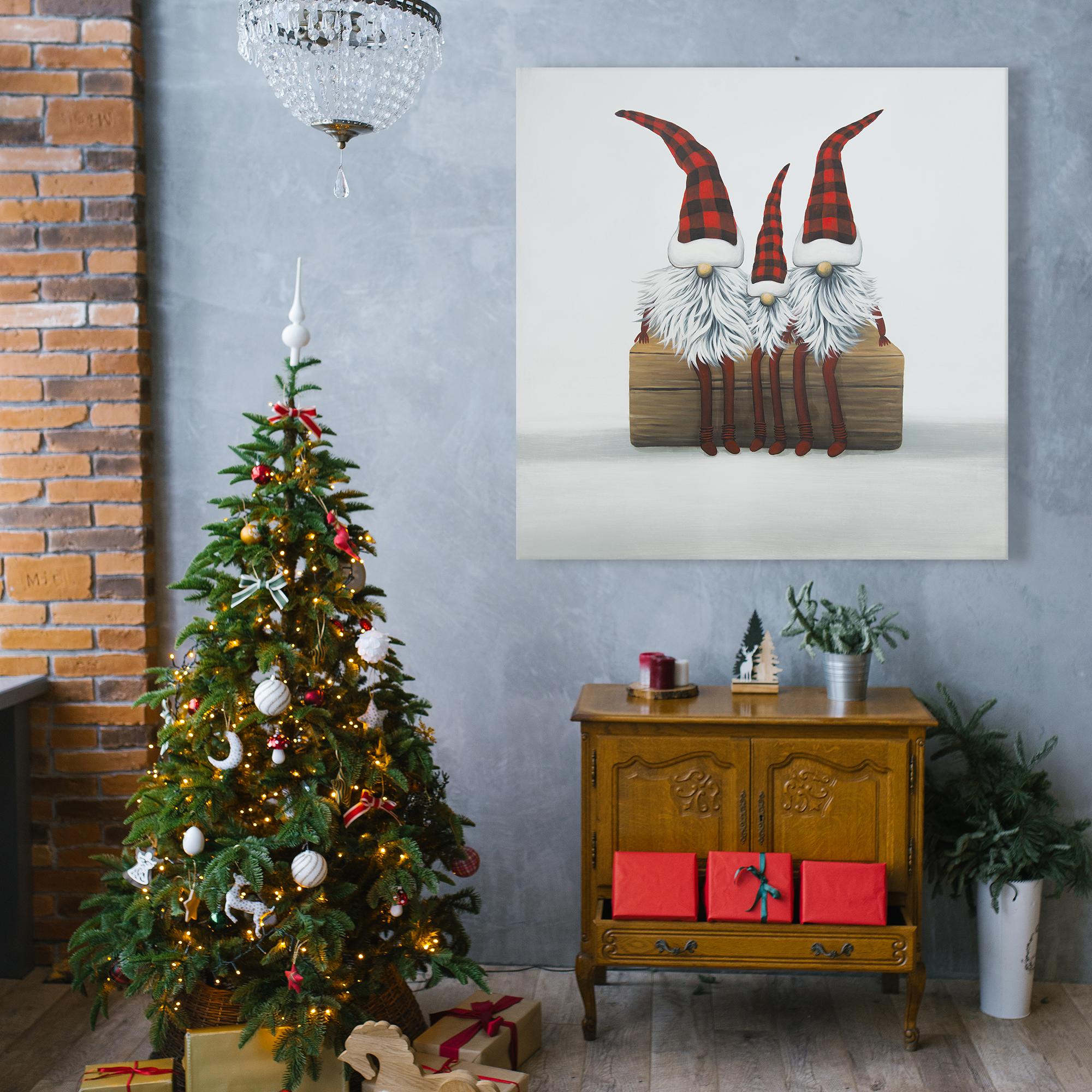Canvas 36 x 36 - Three christmas gnomes