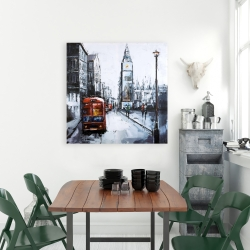 Canvas 36 x 36 - Abstract london and red bus