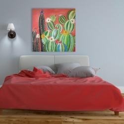Canvas 36 x 36 - Rainbow cactus