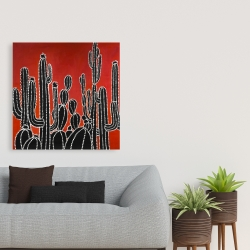 Canvas 36 x 36 - Black tall cactus