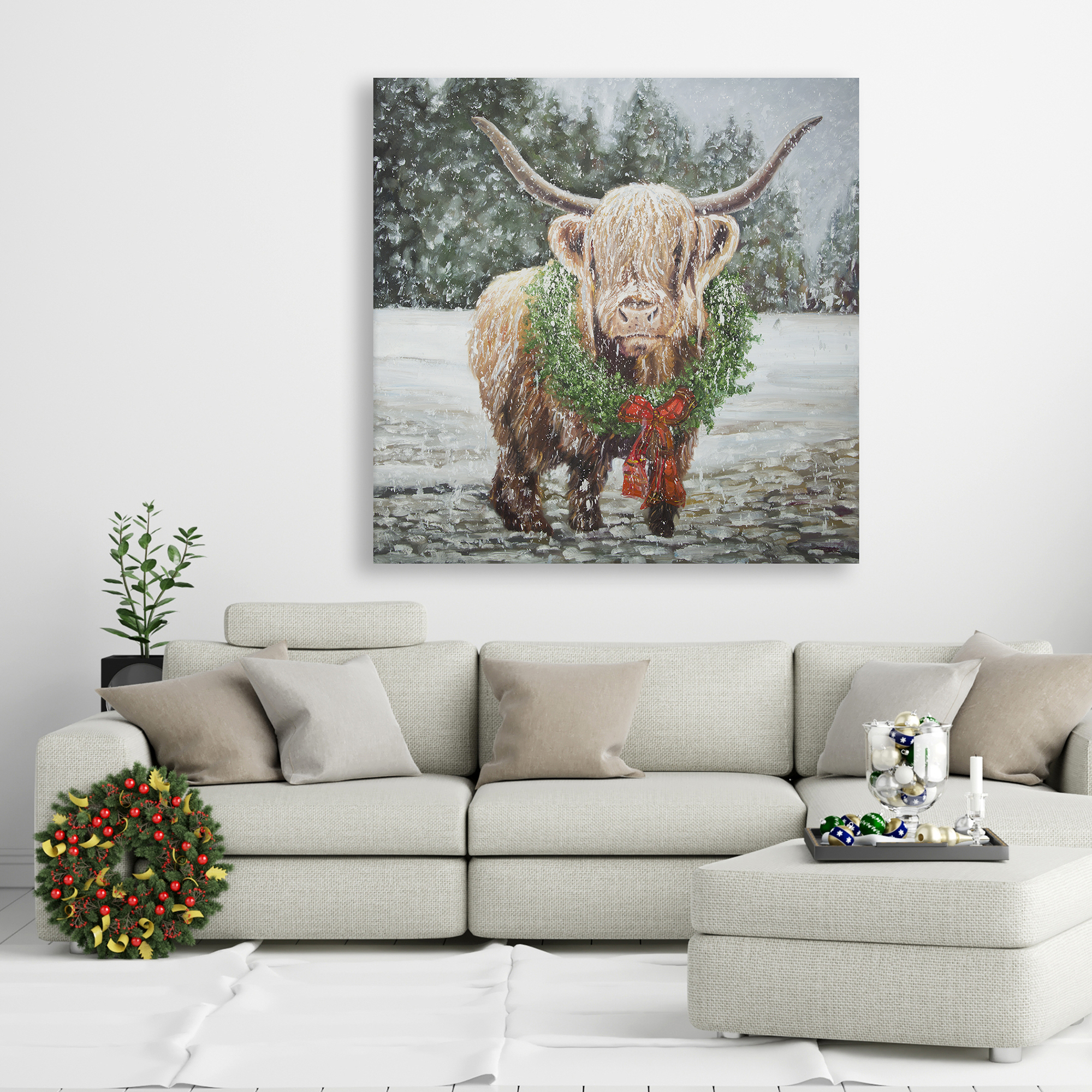 Canvas 36 x 36 - Highland christmas cow
