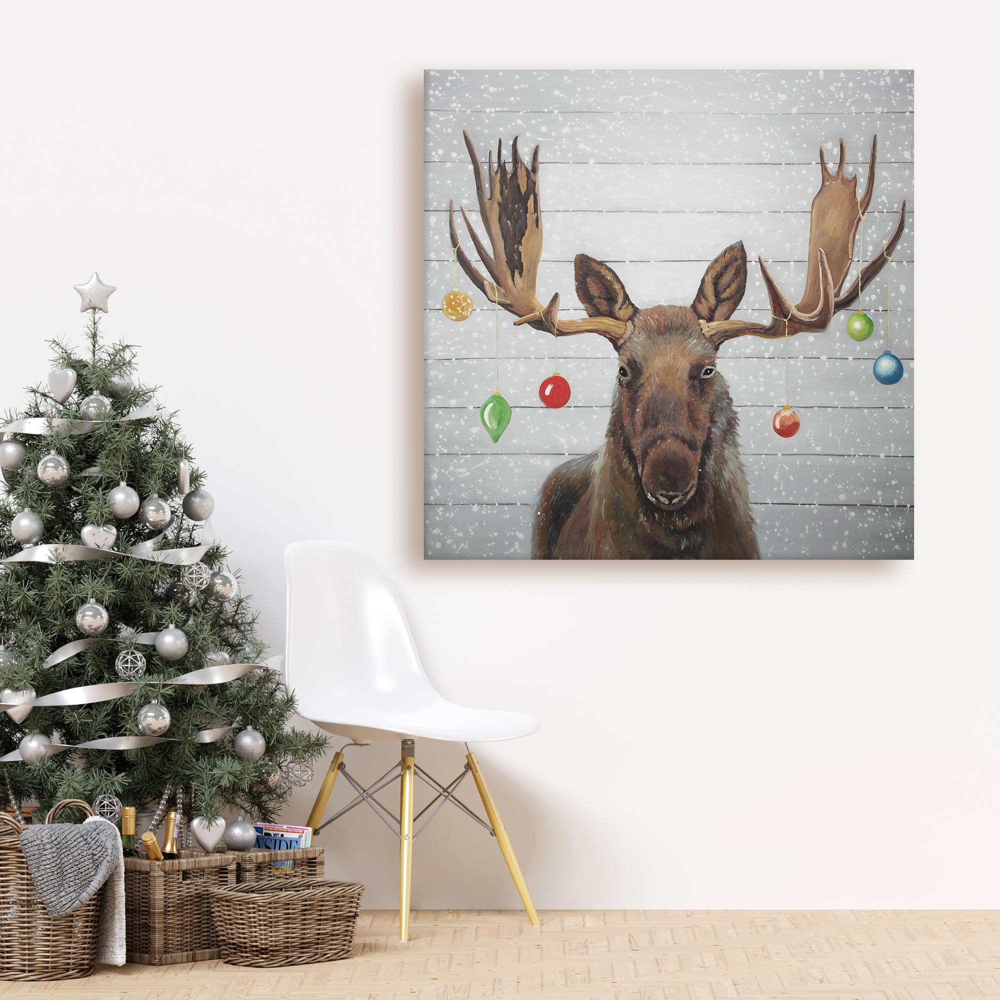 Canvas 36 x 36 - Moose has christmas balls
