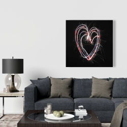 Canvas 36 x 36 - Red & blue fireworks heart