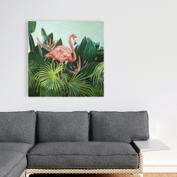 Canvas 36 x 36 - Tropical flamingo