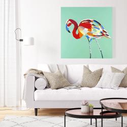 Canvas 36 x 36 - Multicolored flamingo