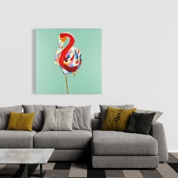 Canvas 36 x 36 - Colorful abstract flamingo