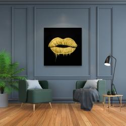 Canvas 36 x 36 - Golden lips