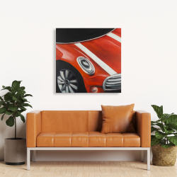 Canvas 36 x 36 - Red car with white stripes closeup