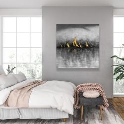 Canvas 36 x 36 - Gold sailboats
