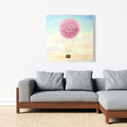 Canvas 36 x 36 - Hot air balloon hydrangea flowers