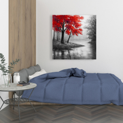 Canvas 36 x 36 - Red trees and lake