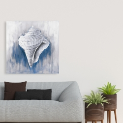 Canvas 36 x 36 - Blue conical shell