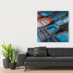 Canvas 36 x 36 - Small blue and red canoes