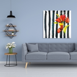 Canvas 36 x 36 - Flowers on black and white stripes