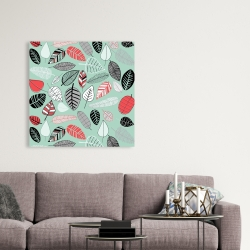Canvas 36 x 36 - Turquoise leaf patterns