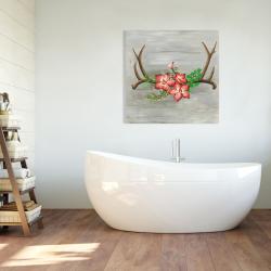 Toile 36 x 36 - Bois de cerfs et fleurs roses