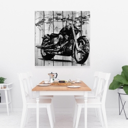 Canvas 36 x 36 - Motorcycle grey and black