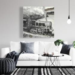Canvas 36 x 36 - Vintage passenger locomotive