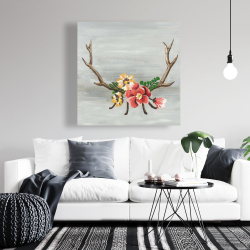 Canvas 36 x 36 - Deer horns with flowers