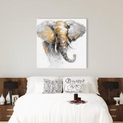 Canvas 36 x 36 - Beautiful golden elephant