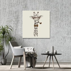 Canvas 36 x 36 - Funny giraffe with a pipe