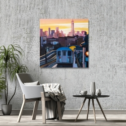 Canvas 36 x 36 - Sunset over the subway in new-york