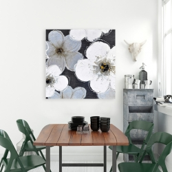 Canvas 36 x 36 - Gray flowers