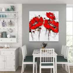 Canvas 36 x 36 - Abstract poppy flowers