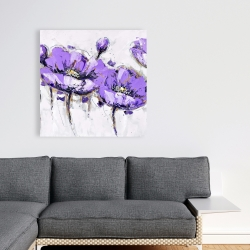 Canvas 36 x 36 - Abstract purple flowers
