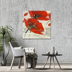 Canvas 36 x 36 - Abstract red flowers in the wind
