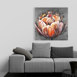 Canvas 36 x 36 - Double and abstract orange tulip