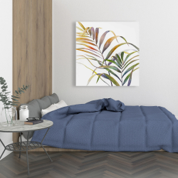 Toile 36 x 36 - Feuilles de palmiers tropicaux à l'aquarelle