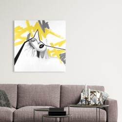 Canvas 36 x 36 - Woman with yellow line