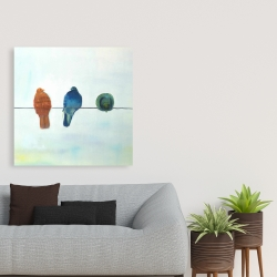 Canvas 36 x 36 - Perched abstract birds
