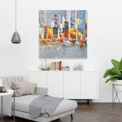 Canvas 36 x 36 - Color splash cityscape