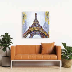 Canvas 36 x 36 - Abstract paint splash eiffel tower