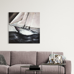 Canvas 36 x 36 - Boat in a violent storm