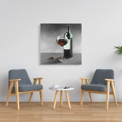 Canvas 36 x 36 - Bottle of burgundy