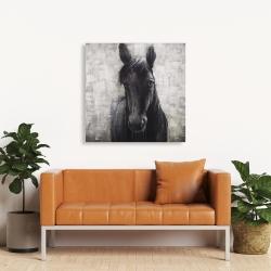 Toile 36 x 36 - Cheval noir