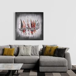 Toile 36 x 36 - Voiliers avec éclats de peinture
