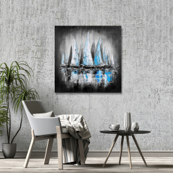 Toile 36 x 36 -  bateaux bleus avec un message manuscrit
