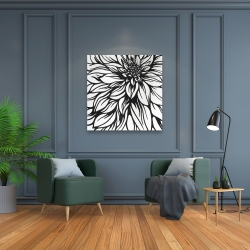 Canvas 36 x 36 - Dahlia flower outline style