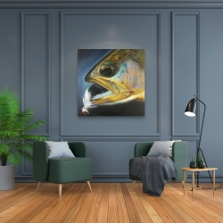 Canvas 36 x 36 - Golden trout with fly fishing flie